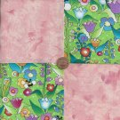 Peachy Morning in the Garden  4 inch Fabric Quilt Squares ZE1