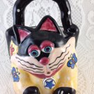 Vintage Ceramic Cat and Butterfly Basket Dish Trinkets Multicolor 2002 tblpq1