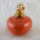 Puppy Love Heart Shape Ceramic Jewelry Trinket Earring Box Cute Hallmark tblbs