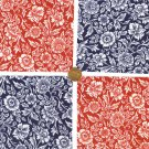 "Red and Blue Flowers Floral Cotton Fabric Novelty Multi 4"" Squares JS1"
