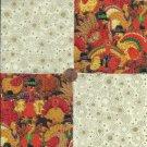 Happy Turkies Turkey 4 inch cotton Novelty Fabric Quilt Squares TC1