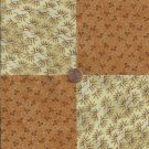 Flowers Beige Brown  4 inch 100% Cotton Novelty Fabric Quilt Squares YW1