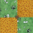 Green Monster Burps 4 inch Cotton Fabric Quilt Craft Squares gd3