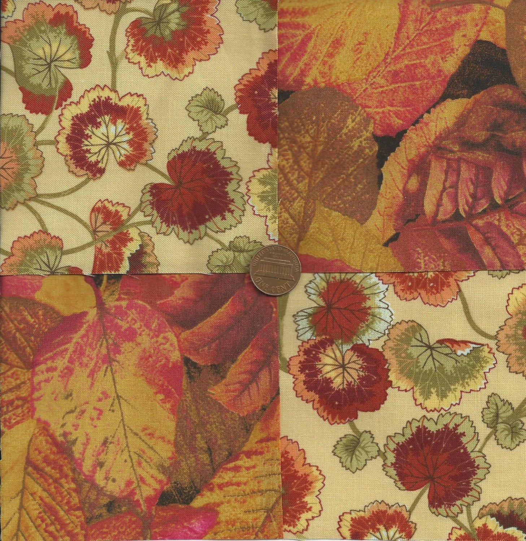 Autumn Rustic Fabric Quilt Squares 100% Cotton Craft Fabric Blocks zp1