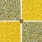 GOLDEN FLORAL FLOWERS Cotton Fabric Novelty Craft Quilt Squares  ZF1