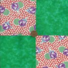 Roses n Green 4 inch Fabric Craft Quilt Squares  Block ZP1