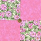 Morning Glories in Pink Flowers 100% Cotton  Fabric Blocks Squares  my3 NEW