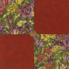 Rich Flower Floral  Assortment 100% Cotton FabricQuilt Square  Blocks my8