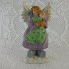 Resin Singing Angel in an Apron and Blue Bird Colorful Springtime tblhw1