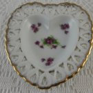 Lefton China Hand Painted Heart Shaped Trinket Dish Violet Bouquets tbljr2