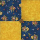 4 inch Flowers Bugs Gold Fabric Quilt Squares Craft Kit zd1
