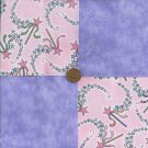 Princess Magic Wands Lavendar 4 inch Fabric Quilt Squares Block rbx2