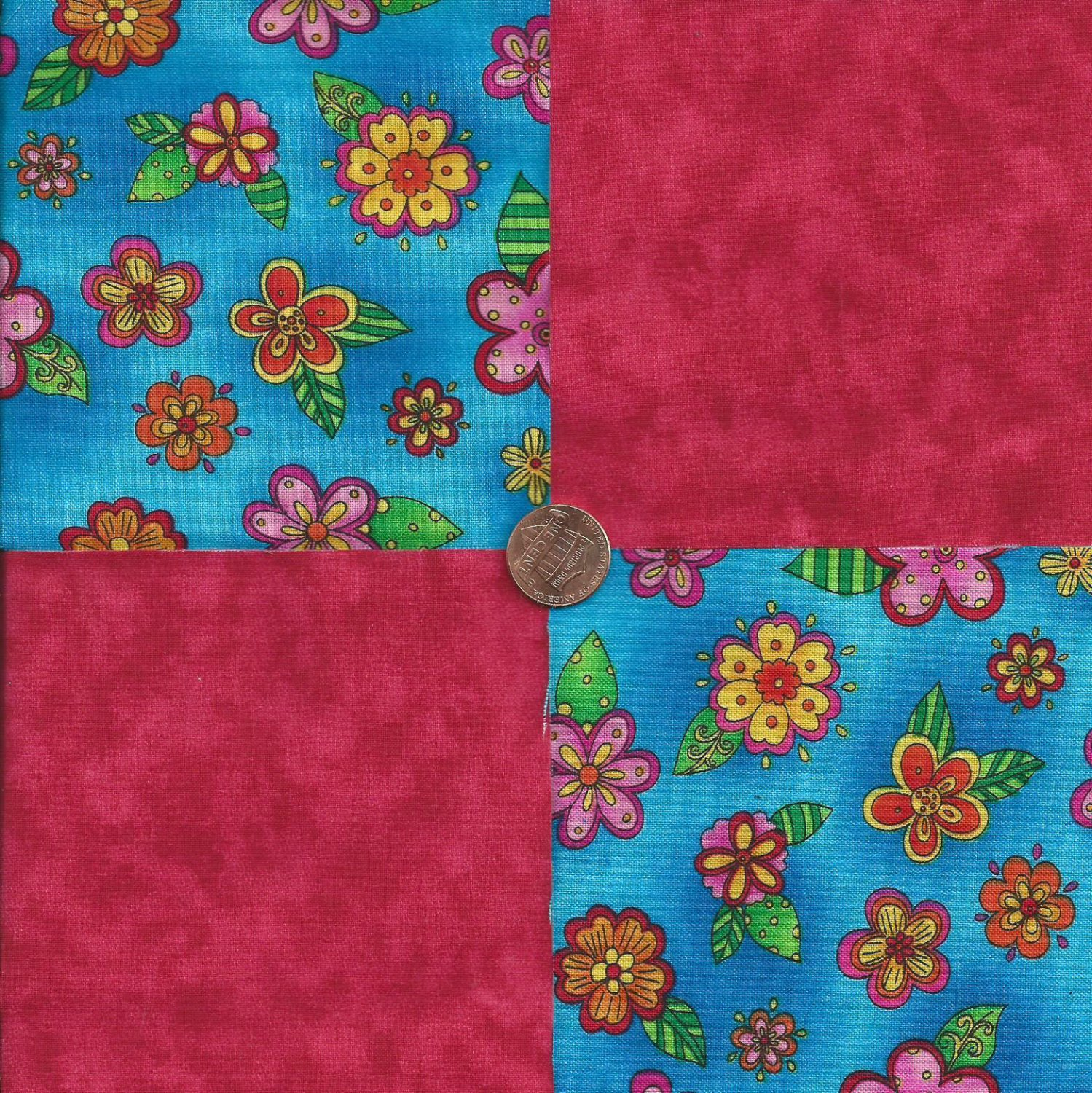 Bright Flowers Red Solid 100% Cotton Fabric Quilt Square Blocks kit  EU