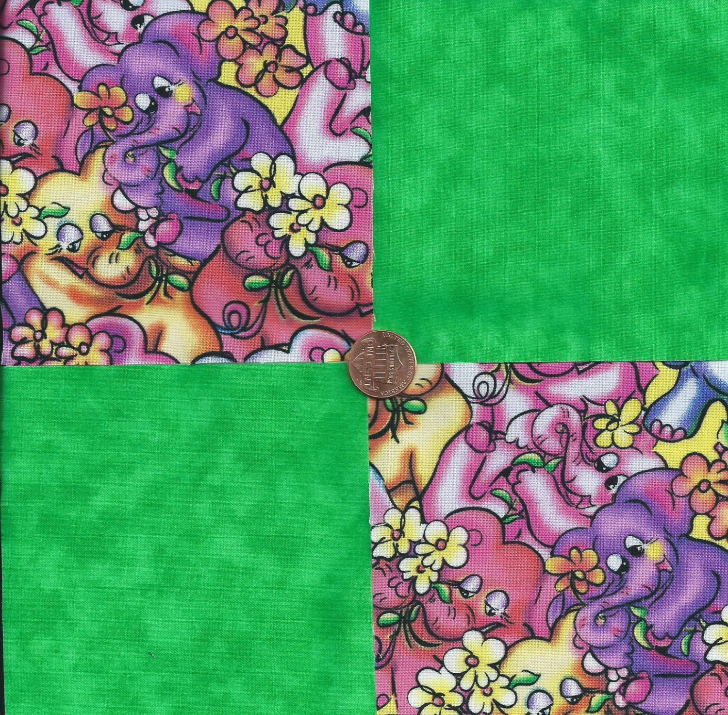 Colorful Elephants Green Solid 100% Cotton Fabric Quilt Square Blocks FT