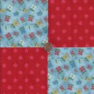 Flowers on Blue and Red 100% Cotton Fabric Quilt Square Blocks FT