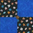 Kitty Cat Kitten Blue Fabric  4 inch Cotton Fabric Novelty Blocks zL1