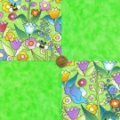 Bees Birds Spring Garden Flower Mix Cotton Novelty Fabric Squares  my4