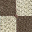 Flowers Beige Tan  100% Cotton Fabric Quilt Square Blocks FT