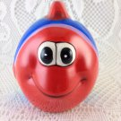 Vintage Fish Money Coin Bank Fund Jar Striped Bright Colored tblhw1