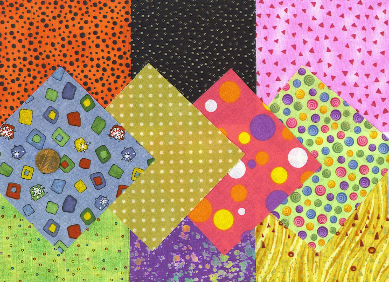 Specs  Spots  Dots Stash Builder  4 inch 100% Cotton Novely Fabric  Squares FK1
