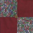 Colorful Field Flowers Merlot 4 inch Fabric Quilt  Craft Squares rbx2