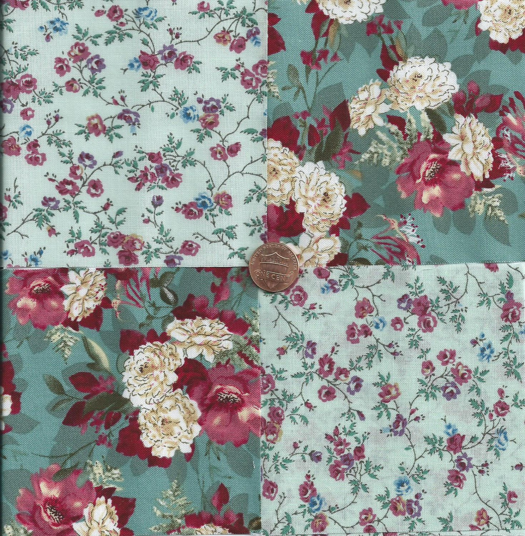Gorgeous Flowers Unique 4 inch 100% Cotton Novelty Fabric  Squares FS2