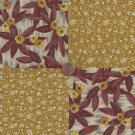Brown Flowers Beige  4 inch 100% Cotton Novelty Fabric Quilt Squares kW1