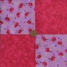 Hint Lavendar Red Rose 4 inch Fabric Craft  Quilt Squares Block ZP1