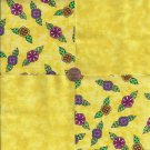 Whimsy Flowers in Yellow  4 inch 100% Cotton Novelty Fabric Quilt Squares ffs1