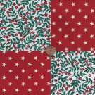 Brilliant  Red Flowers and Stars 4 inch Cotton Fabric Blocks Squares  AW1