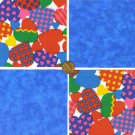 Patchwork Hearts   Blue 4 inch 100% Cotton Novelty Fabric Quilt Squares DE1
