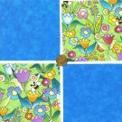 Simple Spring Flower Garden  4 inch 100% Cotton Novelty Fabric Quilt Squares DE1