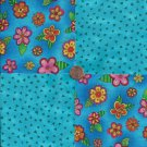 Bright Flowers Blue Triangles 100% Cotton Fabric Quilt Square Blocks FT