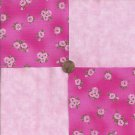 Flowers Pink Roses Rose Bunch 100% Cotton Fabric Quilt Square Blocks GE