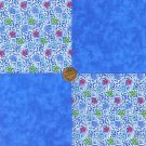 Perky Blue Flowers Assorted Colors 100% Cotton Fabric Quilt Craft Squares  my8