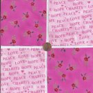 Peace Hope Love Charity Roses 4 inch 100% Cotton Novelty Fabric Squares SO1