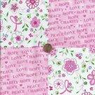 Survivor Flowers Hope Love Peace 100% Cotton Fabric Quilt Square Blocks FT