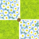 DAISY DAISIES Flower Floral Cotton Fabric Craft Quilt Squares ZF1
