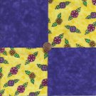 Bright Whimsy Flowers Purple  4 inch 100% Cotton Novelty Fabric  Squares ffs1