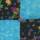 All Around Whimsy Flowers Stars  4 inch 100% Cotton Novely Fabric  Squares FS2