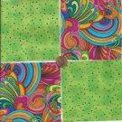Rainbows  Green  Polka Dots 4 inch 100% Cotton Novelty Fabric Quilt Squares DE1