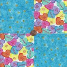 Heart Candy Candies Stars   4 inch 100% Cotton Novelty Fabric Quilt Squares TC1