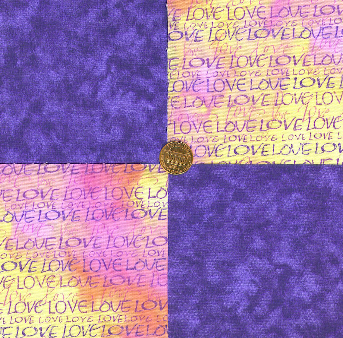 LOVE Purple 100% Cotton Fabric Squares Sewing Quilting Crafting   LP1