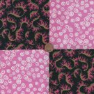 Pink Twist and Turns 4 inch Fabric Quilt Square Craft Charms  CK