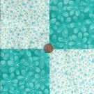 Soft Turquioise Flowers  4 inch Fabric Quilt Square Charms Craft Blocks ck