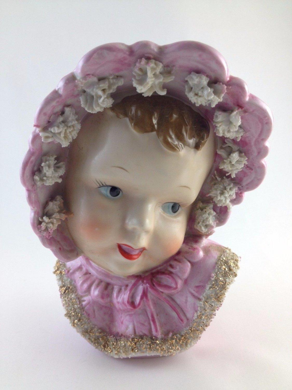 Artmark Ceramic Vase Angelic Little Girl Pink Bonnet Darling Handpainted tblpo1