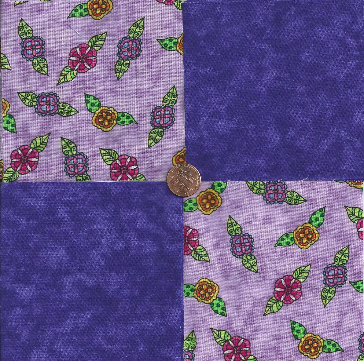 Whimsy Flowers on Lilac Purple    4 inch 100% Cotton Novely Fabric  Squares FS2