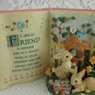 Resin Bunnies Blue Birds Flowers Figurine for a Special Friend Sentiment tbljt1