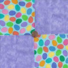 Colored Eggs and Lilac Purple  4 inch 100% Cotton Novely Fabric  Squares FS2