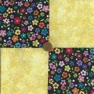 MULTI RAINBOW FLOWER YELLOW  4 inch Fabric Block squares zs1